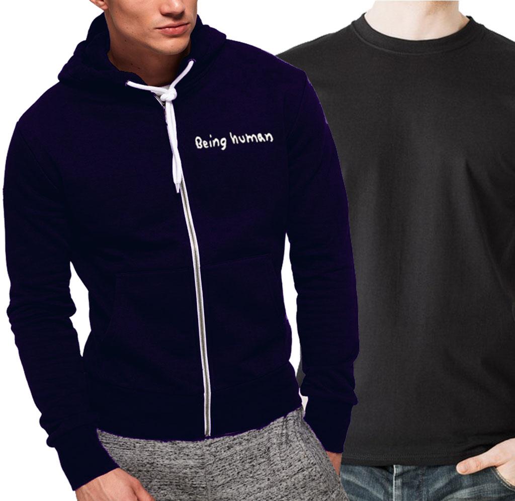 d9914c217 Pack Of Men's Blue Zipper Hoodie With Plain Black T-Shirt - Menswear.pk