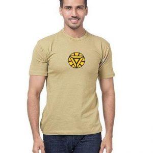 Beigh Half Sleeves Iron Man Printed T shirt mw36
