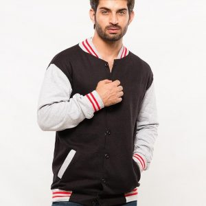Black Base Ball Jacket With Grey And Red Contrast Collor mw36