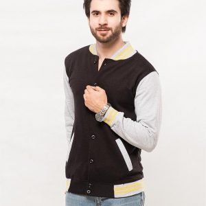 Black Base Ball Jacket With Grey And Yellow Contrast Collor mw18