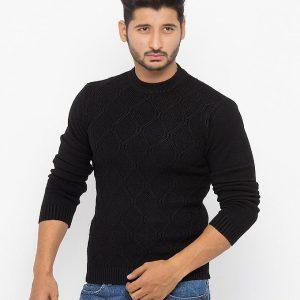 Black Cotton With Circular Jacquard Look Sweater - 6705-Black mw80