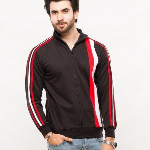 Black Mock Neck Zipper With Red & White Stripes Panel mw32