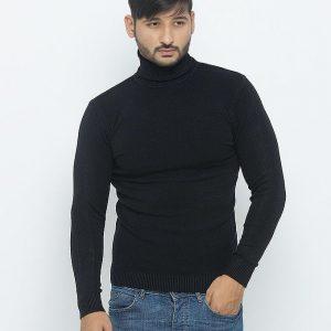 Black Plain Cotton Sweater - 703-Black mw74