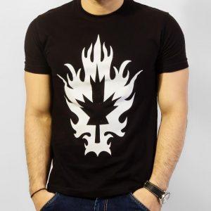 Black Round Neck Half Sleeves Canadian Leaf T-Shirt mw98
