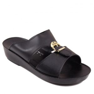 Black Synthetic Leather Sandals For Men G8320-BLACK mw99