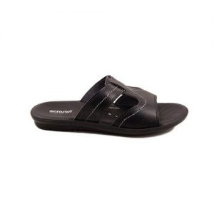 Black Synthetic Leather Slippers for Men mw94