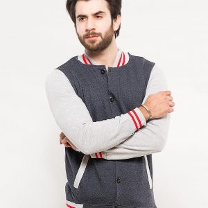 BLUE BASE BALL JACKET WITH GREY AND RED CONTRAST COLLOR mw70