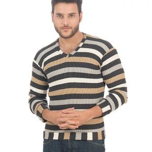 Blue Marl Striped Ribbed Cotton Sweater for Men - CC-NB01030 mw47