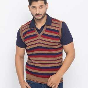 Brown Striped Mix Cotton Sweater - RS-01 mw20