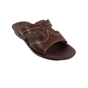 Brown Synthetic Leather Slippers for Men mw91