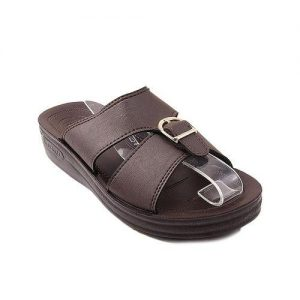 Brown Synthetic Leather Slippers For Men mw93