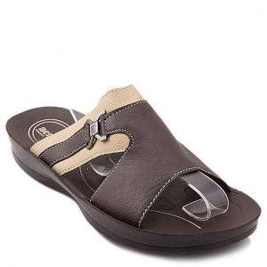 Brown Synthetic Leather Slippers For Men mw98