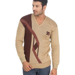 Brown Wool Sweater For Men mw28