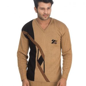 Brown Wool Sweater For Men mw4