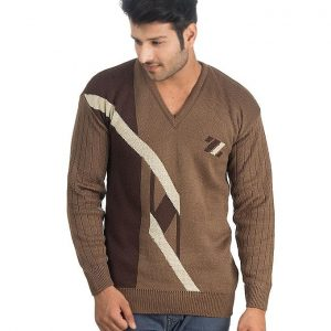 Brown Wool V Neck Sweater For Men mw25