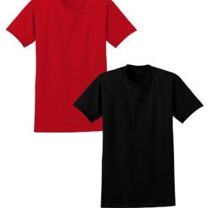 Bundle Of 2 Black & Red Cotton Half Sleeves Tshirt mw449