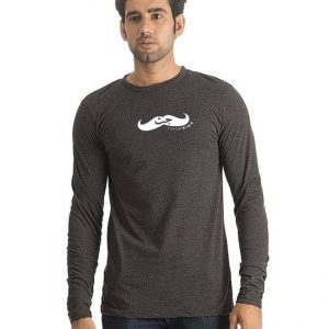 Charcoal Round Neck Full Sleeves Jutt Printed T shirt mw33