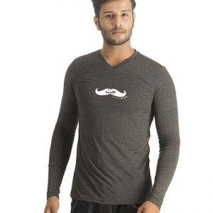 Charcoal V Neck Full Sleeves Jutt Printed T shirt For Him mw41