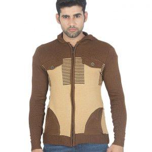Dark Brown With Lite Lines Wool Dark Brown Sweater Hoodie Style mw14