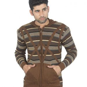 Dark Brown Wool Lining Sweater For Men mw29