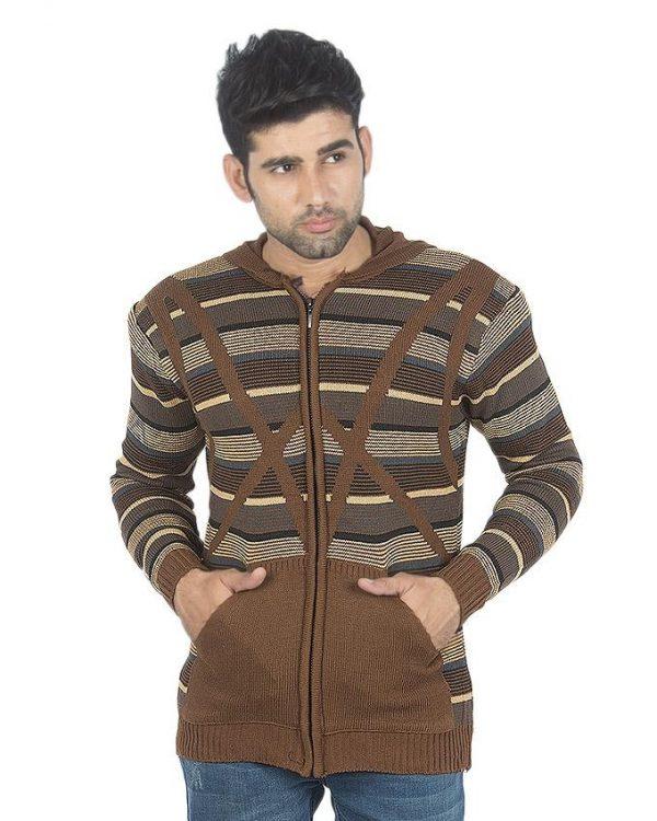 Dark Brown Wool Lining Sweater For Men mw29