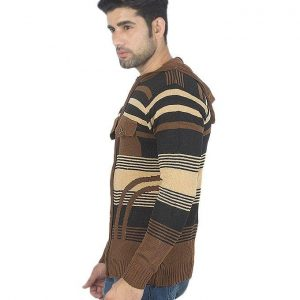 Dark Brown Wool Mens Full Zipper Sweater mw34