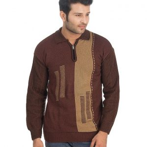 Dark Brown Wool Zipper Collar Sweater For Men mw30