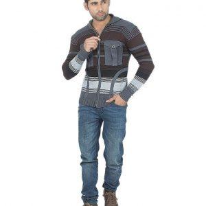 Gray Wool Hood Stylish Sweater Zipper mw11