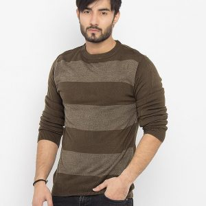 Green & Grey Striped Cotton Sweater - 3173-Green/Grey mw98