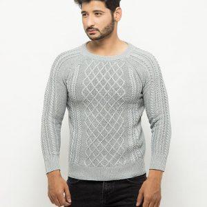 Grey Cotton Round Neck Sweater mw82