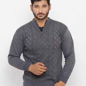 Grey Cotton Sweater & Quarter Zipper - 746-Grey mw75