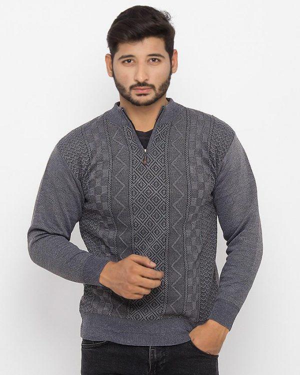 Grey Cotton Sweater & Quarter Zipper - 746-Grey mw75