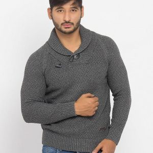 Grey Cotton Sweater With Stylish Buttons - Ghk027-Grey mw24