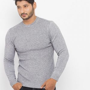Grey Cotton With Jacquard Look Sweater - 6716-Grey mw42