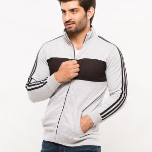 Grey Mock Neck Zipper With Black Panel And Stripes mw27