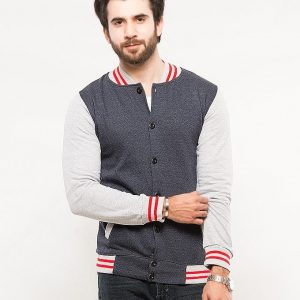 Grey Mock Neck Zipper With Red & White Stripes mw28