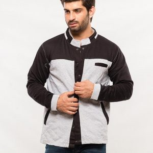 Grey Quilted Jacket With Contrast Black Panel mw1