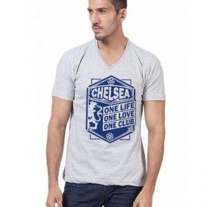Heather Grey Chalsea Club Printed T shirt For Him mw387