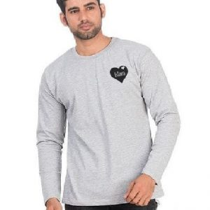 Heather Grey Cotton Islam Logo Printed T-Shirt For Men mw82