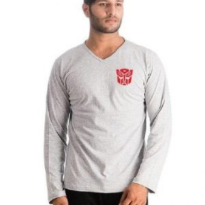 Heather Grey Transformer Logo Full Sleeves T-Shirt mw454