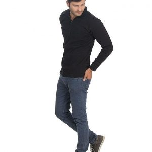 Jet Black Lakira Fleece Mock Neck Style Sweater mw7
