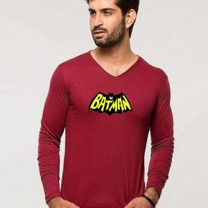 Maroon Batman Full Sleeves Printed T shirt mw443
