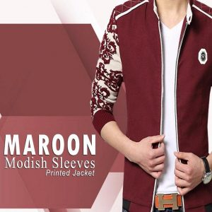 Maroon Modish Sleeves Printed Jacket For Him mw30
