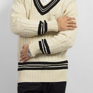 Off White Mix Cotton Cricket Sweater with Black Lining mw40