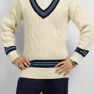 Off White Mix Cotton Cricket Sweater with Blue Lining mw72