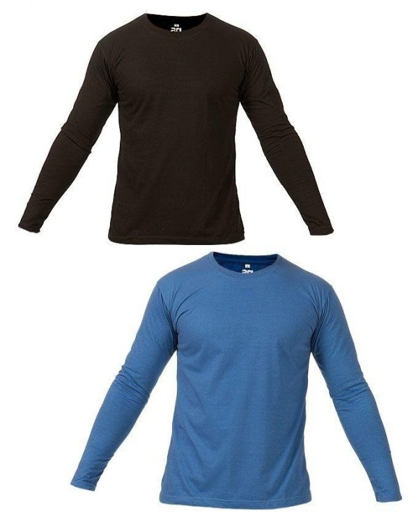 Pack Of 2 - Black & Blue Round Neck Full Sleeves Cotton T-Shirts mw400