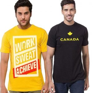 Pack of 2 Cotton Printed T-Shirt For Men mw452