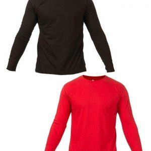 Pack Of 2 - Red & Black Round Neck Full Sleeves Cotton T-Shirts For Men mw401