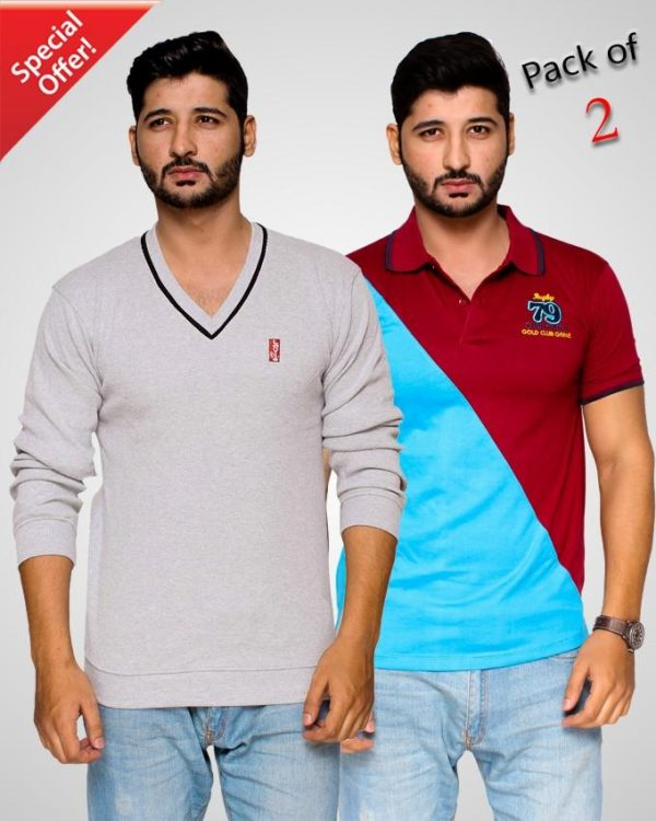 Pack Of 2 V-Neck Sweater & Contrast Polo T-Shirt For Men mw22