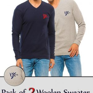 Pack Of 2 - Woolen Sweaters Long Sleeves With Front Embroidery For Men mw8